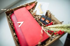 Beautiful gifts, a purse, cosmetics and a brooch Royalty Free Stock Image