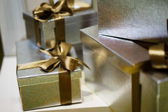 Beautiful gifts in silver boxes. close-up Stock Image