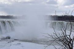 Beautiful gigantic frozen Horseshoe Niagara Waterfalls with a big tree on a frozen spring day in Niagara Falls in Ontario, Canada. Beautiful gigantic frozen Royalty Free Stock Photo