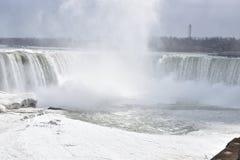 Beautiful gigantic frozen Horseshoe Niagara Waterfalls on a frozen spring day in Niagara Falls in Ontario, Canada. Beautiful gigantic frozen Horseshoe Niagara Stock Image