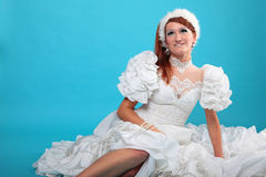 Beautiful ginger in a dress of Snow Queen Royalty Free Stock Images