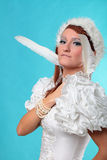Beautiful ginger in a dress of Snow Queen Stock Photography
