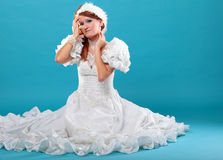Beautiful ginger in a dress of Snow Queen Royalty Free Stock Image