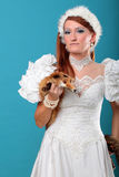 Beautiful ginger in a dress of Snow Queen Stock Photo