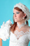 Beautiful ginger in a dress of Snow Queen Stock Image