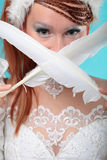 Beautiful ginger in a dress of Snow Queen Royalty Free Stock Photo