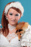 Beautiful ginger in a dress of Snow Queen Royalty Free Stock Photos