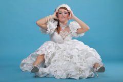 Beautiful ginger in a dress of Snow Queen Stock Photos