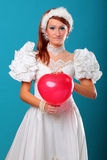 Beautiful ginger red heart dress of Snow Queen Royalty Free Stock Photos