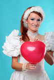 Beautiful ginger red heart dress of Snow Queen Stock Photos