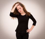 Beautiful Ginger Teenage Girl In Black Clothes Royalty Free Stock Photos