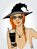 Beautiful ginger witch Stock Photo