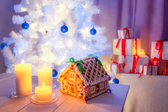 Beautiful gingerbread cottage for Christmas Stock Photography