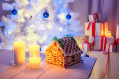 Beautiful gingerbread cottage for Christmas Stock Images