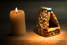 Beautiful gingerbread house on wooden Royalty Free Stock Images