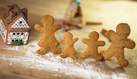 Beautiful gingerbread house on wooden Stock Photography