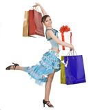 Beautiful gir in dress shopping. Royalty Free Stock Photos