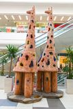 Beautiful giraffe monument. 2 giraffe sculpture Royalty Free Stock Photos