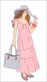 Beautiful  girl. In the pink dress Royalty Free Stock Images