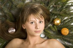 Beautiful girl. And a branch of christmas tree royalty free stock photos