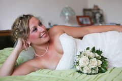 Beautiful girl. In wedding dress royalty free stock photos