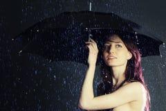 Beautiful girl. Beautiful young girl under a rain Royalty Free Stock Photos