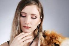 Beautiful girl. Studio portrait of beautiful girl on gray background Royalty Free Stock Photo