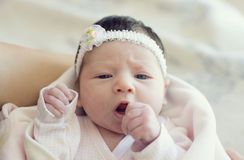 The beautiful girl. With a ribbon on a head Royalty Free Stock Image