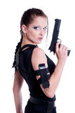 Beautiful girl. With gun on white background Royalty Free Stock Images