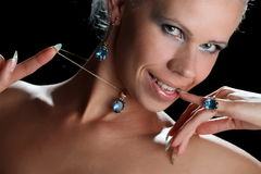 Beautiful girl. With blue eyes and decorations Royalty Free Stock Image