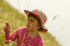Beautiful Girl. Portrait of Little  Beautiful Baby Girl in summer Hat Royalty Free Stock Image