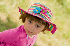 Beautiful Girl. Portrait of Little  Beautiful Baby Girl in summer hat Stock Photos