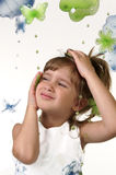 Beautiful girl. A portrait of a beautiful young girl and butterfly beads stock images