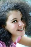 Beautiful girl. With braces Stock Image