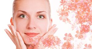 Beautiful girl. Picture of a Beautiful girl massaging her face Stock Image