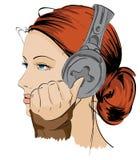 The beautiful girl. Listening to music Stock Photo