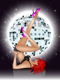 The beautiful girl. In underwear against a sphere disco. Party invitation template - Vector illustration Royalty Free Stock Image