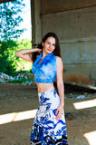 Beautiful girl. Standing in an abandoned building Royalty Free Stock Photo
