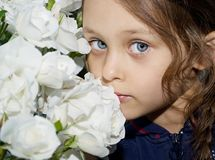 Beautiful girl. With white flowers Stock Photos