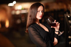 Beautiful girl. With a glass of wine Stock Images