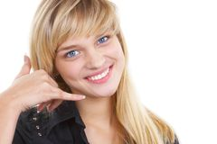 The beautiful girl. The girl shows call to me Stock Image