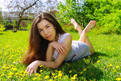Beautiful girl. In a summer garden Royalty Free Stock Photography
