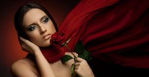 Beautiful girl. The very  pretty woman with red  neckerchief, sensual sexuality gaze Stock Photo