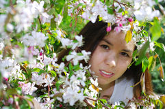 Beautiful girl. In a summer garden Royalty Free Stock Images
