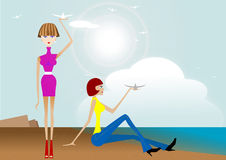 Beautiful girl. In the blue sea, flying birds vector illustration