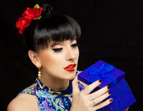 Beautiful girl. Close up portrait of a pretty girl with accessories royalty free stock photo