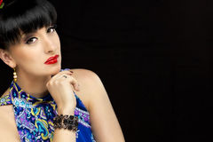 Beautiful girl. Close up portrait of a pretty girl with accessories royalty free stock image