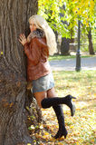 Beautiful  girl. Beautiful blond girl is in an autumn park Royalty Free Stock Photos