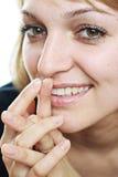 A beautiful girl. With fantastic eyes, look at the camera royalty free stock photo