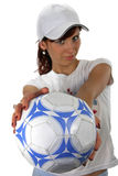Beautiful girl. With football ball on a white background Royalty Free Stock Images